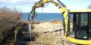 Helical Piles used in unstable soil at the beach in Brewster MA