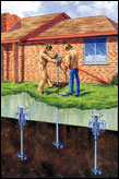 If a house is settling, underpinning with helical piers is a foundation repair solution to stabilize house from sinking further.