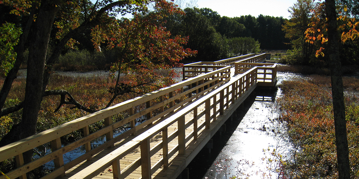 Helical Piles used for environmental boardwalk in Foxboro, MA.